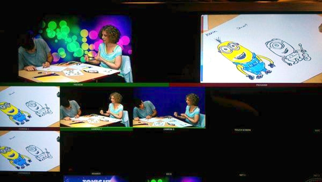 KidZone images from TV monitor, Minions lesson